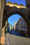 The Arch under the Lesser Town Bridge Towers on Charles Bridge Royalty Free Stock Images