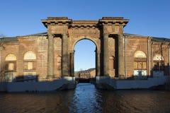 Arch Vallin de la Mothe 新的荷兰海岛,圣彼德堡 俄国 免版税库存图片