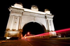 Arch of Victory at night, Ballarat. Motion blur of a truck passing through the Arch of Victory in Ballarat, Australia Stock Photo
