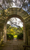 The Arch and the view of the Bishop Garden. The view of the Bishop Garden near Washington National Cathedral Stock Images