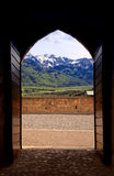 Arch view of Swiss Alps in Gruyere, Switzerland royalty free stock photos