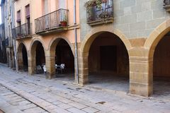 Arch in the village of Calaf, Anoi, Barcelona province, Cataloni. A Stock Photos