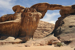 Arch in the Wadi Rum desert Royalty Free Stock Photo