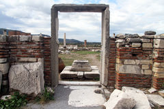 Arch and basilica. Arch. wall and ruins of Saint John basilica in Ephesus, Turkey Royalty Free Stock Photography