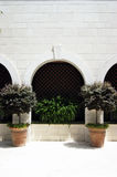 The arch in the wall and two pots with trees Royalty Free Stock Images