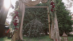 Arch for the wedding ceremony stock footage