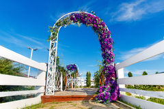 Arch for the wedding ceremony. Floristic composition in vintage. Style. The Provence Stock Image