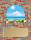 Arch window. Ancient arch window with seaview Stock Photos
