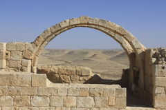 Arch and Window in the ancient Avdat roman village Royalty Free Stock Photography