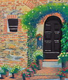 Arch wooden door oil painting on canvas. An arch wooden door oil painting on canvas royalty free stock photography