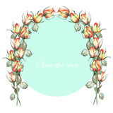 An arch wreath (frame) of the red and yellow roses painted in a watercolor, a place for a text Royalty Free Stock Photo