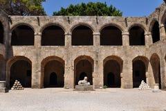 archaelogical希腊博物馆老罗得斯城镇 库存照片