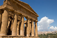 Archaeological Area of Agrigento - Temple of Juno, Sicily. Front of ancient Greek temple in background Agrigento city, UNESCO World Heritage Site, Sicily stock photos