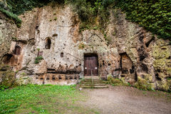 Archaeological area City of Sutri, Italy. Dug out of tufa. Archaeological remains of the church of the Madonna del Parto is a Sutri church, located outside the stock photography