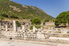 Archaeological area of Ephesus, Turkey. Stoa of Nero, located along the Marble Street. In the background, the Agora Stock Photo