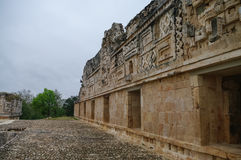 The archaeological area Uxmal, the ruins of the palace. Stock Image