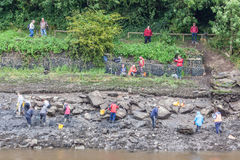 Archaeological Dig and Observers. From the recent dig at South Hylton which is looking for `Sunderland`s Forgotten Stones` or `Brigg Stones` believed to be from stock photography