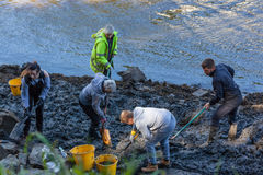 Archaeological Dig on River. From the recent dig at South Hylton which is looking for `Sunderland`s Forgotten Stones` or `Brigg Stones` believed to be from an royalty free stock photo