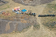 Archaeological equipment aerial view. Archaeological equipment used in excavation site, aerial view stock photos