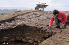 Archaeological excavation . Asturias Stock Image