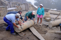 Archaeological excavation . Asturias. Moving column in the patio of the  Domus    Archaeological site  Chao Samartin  Asturias SPAIN Royalty Free Stock Photography