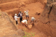 Archaeological excavation group Stock Photography