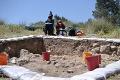 Archaeological excavation in Judaean Shefela area of Israel, Khirbet El-Rai Iron age site, excavation site during dig stock photo