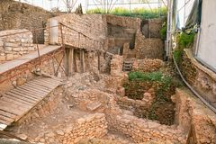 Archaeological Excavation in Tavira, Portugal. An archaeological excavation in the old town of Tavira Royalty Free Stock Image