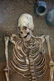 Archaeological excavations of an ancient human skeleton and human skull stock image