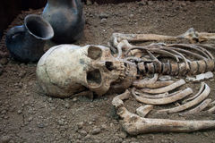 Archaeological excavations of an ancient human skeleton and human skull. Archaeological excavations of an ancient human homo sapiens man reasonable Neanderthal Stock Images