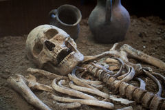 Archaeological excavations of an ancient human skeleton and human skull. Archaeological excavations of an ancient human homo sapiens man reasonable Neanderthal Royalty Free Stock Photography