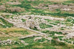 Archaeological excavations of an ancient structure. Crimea, Mith. Ridates Royalty Free Stock Photos