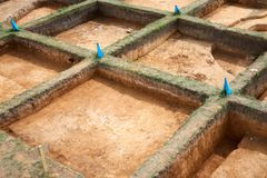 Archaeological excavations. In archaeology, excavation is the exposure, processing and recording of archaeological remains. An excavation site or `dig` is a stock images