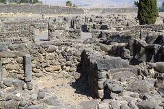 Archaeological excavations. Capernaum,  Israel. Located on the northern shore of the Sea of Galilee Stock Photos