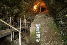 Archaeological excavations in the cave Stock Photo
