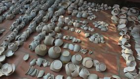 Archaeological excavations at the Chudau ceramics village. Haiduong, Vietnam, Archaeological excavations at the Chudau ceramics village stock footage