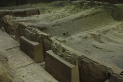 Archaeological excavations of the clay army of the emperor. Untouched tomb. China, Xi`an: Archaeological excavations of the clay army of the emperor Qin Shi royalty free stock images