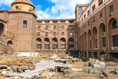 Archaeological excavations in the courtyard of a modern building Stock Image