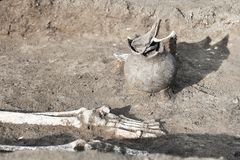 Archaeological excavations. Human remains bones of skeleton legs/foot in the ground, with artefacts found in the tomb damaged c. Eramic jar. Real digger process stock images