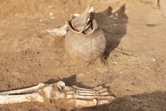 Archaeological excavations. Human remains bones of skeleton legs/foot in the ground, with artefacts found in the tomb damaged c. Eramic jar. Real digger process stock photography