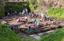 Archaeological excavations near the walls of an ancient kremlin Royalty Free Stock Images