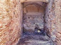 Archaeological excavations of Ostia Antica: Interior of a Roman insulae. Archaeological excavations of Ostia Antica: Interior of a Roman insula - selective focus Stock Photos