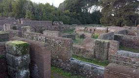Archaeological excavations of Ostia Antica, overview of Republican Warehouses. Archaeological excavations of Ostia Antica in Rome, overview of the Roman empire stock footage