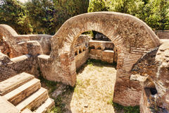 Archaeological excavations of Ostia Antica:Top view of a twin colombarium Stock Images