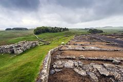 Housesteads Roman Fort, Hexham, Northumberland, England. Archaeological excavations and ruins on the former Housesteads Roman Fort Stock Images