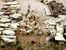 Archaeological finds. Ancient archaeological finds at an excavation site Stock Photo
