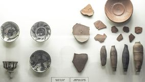 Fragments of antique ceramics. Archaeological finds from excavations. Archaeological finds from excavations. Fragments of antique ceramics Royalty Free Stock Photos