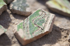 Archaeological finds - shards of ancient pottery Royalty Free Stock Photo