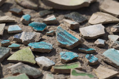 Archaeological finds - shards of ancient pottery. Vessels Royalty Free Stock Photography