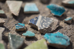 Archaeological finds - shards of ancient pottery. Vessels Stock Image
